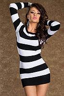 Клубное платье в черно-белую полоску