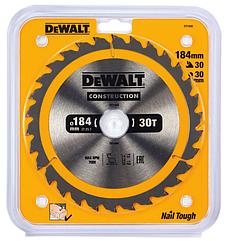 Пильный диск DEWALT DT1942, CONSTRUCTION по дереву с гвоздями 184/30, 30 ATB +10°