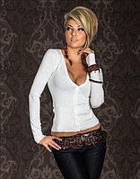 Белоснежный короткий кардиган-женская кофта