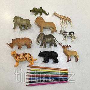 Набор из 10 резиновых диких животных