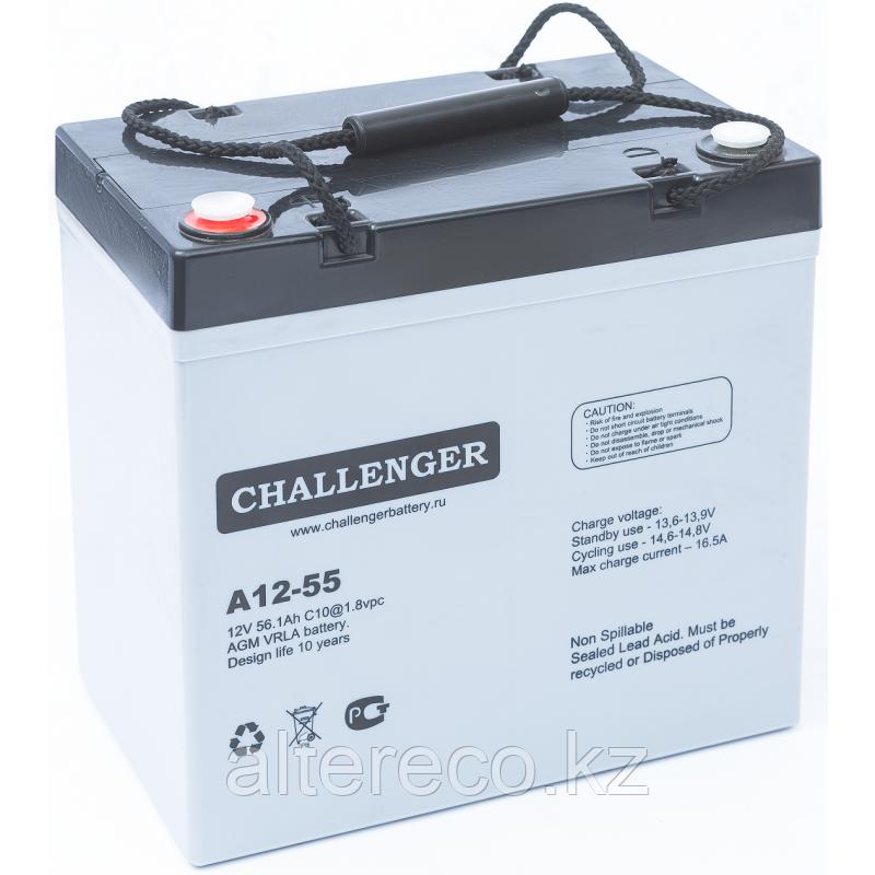 Аккумулятор для лодочного мотора Challenger A12-55A (12В, 55Ач)