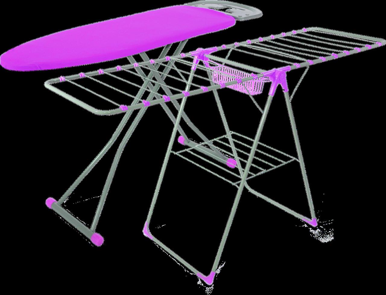 Гладильная доска Magna SET-1638 Sarpo пурпурный (сушилка для белья в комплекте)