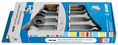 Набор ключей кованых комбинированных с храповиком в картонной упаковке - 160/2CS UNIOR