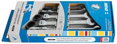 Набор ключей кованых комбинированных с храповиком и шарнирной головкой в картонной упаковке - 161/2CS UNIOR