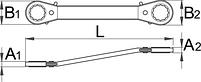 Ключ накидной изогнутый с храповиком - 166 UNIOR, фото 2