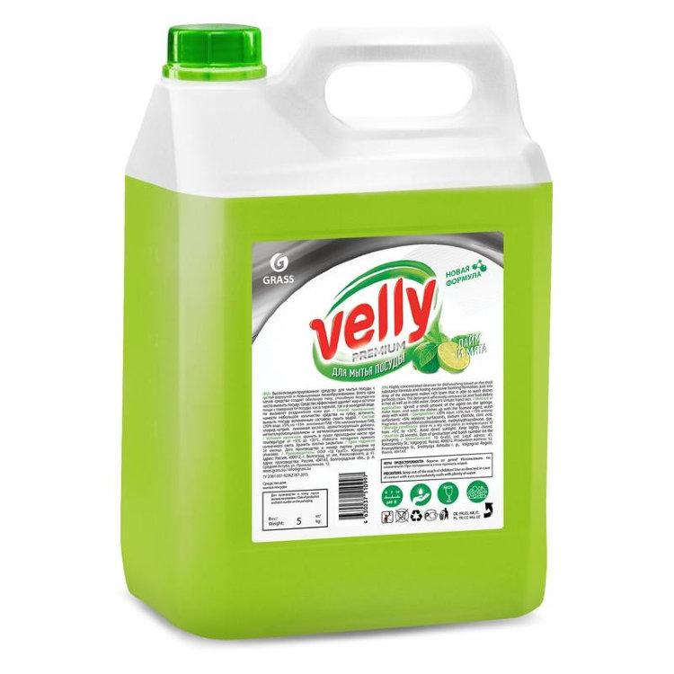 "Средство для мытья посуды ""Velly"" Premium лайм и мята, Grass, 5L"