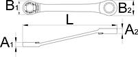 Ключ кованый накидной с храповиком - 170/2 UNIOR, фото 2