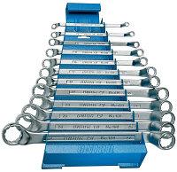 Набор ключей накидных с изгибом в металлическом стенде - 180/1MS UNIOR