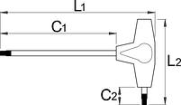 Ключ шестигранный с Т-образной рукояткой с закруглённым жалом - 193HXS UNIOR, фото 2