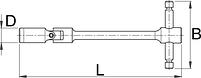 Ключ торцевой шестигранный с карданным шарниром, Т-образный - 194/1A1 UNIOR, фото 2