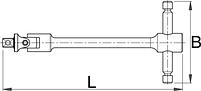 """Рукоятка Т-образная с карданным шарниром 1/2"""" - 194/1B2 UNIOR, фото 2"""
