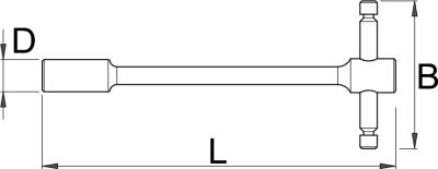 Ключ торцевой шестигранный с карданным шарниром с Т-образной рукояткой - 196/1A1 UNIOR - фото 2