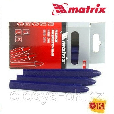Мелки разметочные восковые синие, 120 мм, коробка 6 шт Matrix, фото 2