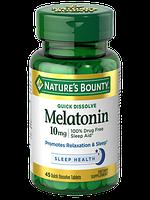 Nature's Bounty, Мелатонин, быстрое растворение, 10 мг, 45 быстрорастворимых таблеток