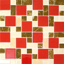 Крупная стеклянная мозаика красно персиковый