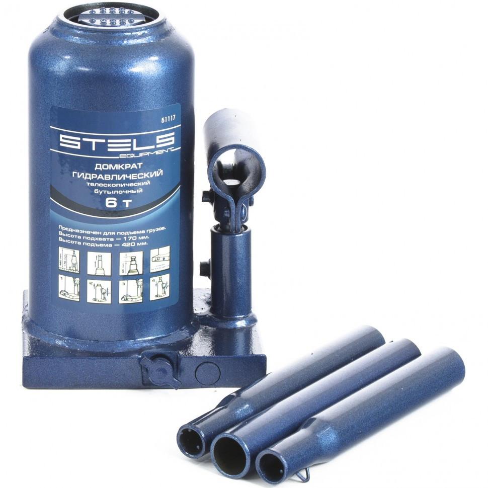 Домкрат гидравлический бутылочный телескопический, 6 т, H подъема 170-420 мм Stels