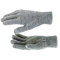 Перчатки трикотажные, акрил, двойные, серая туча, двойная манжета Россия Сибртех