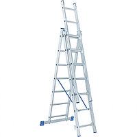 Лестница, 3 х 7 ступеней, алюминиевая, трехсекционная, Россия, Сибртех