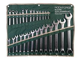 ROCKFORCE Набор ключей комбинированных универсальный 27 предметов(6-36мм),разрезные 2пр(10-12,11-13мм)