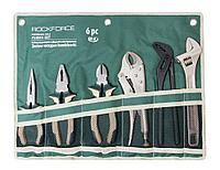 ROCKFORCE Набор шарнирно-губцевого инструмента 6 предметов(бокорезы, плоскогубцы, утконосы, зажим гейферный,