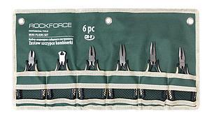 """ROCKFORCE Набор шарнирно-губцевого инструмента мини 6 предметов 5""""-125мм(бокорезы, плоскогубцы-2шт, утконосы"""