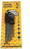 Partner Набор ключей 6-гранных Г-образных с шаром 9 предметов(1,5-10мм) в пластиковом держателе Partner