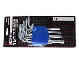 Forsage Набор ключей TORX Г-образных, 15 предметов(Т6, T7, T8, T9, Т10, Т15, Т20, Т25, Т27, Т30, Т40, Т45,