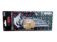 ROCKFORCE Набор ключей Г-образных 6-гранных длинных с шаром, 10 предметов (1.27, 1.5, 2, 2.5, 3-6, 8, 10мм) в