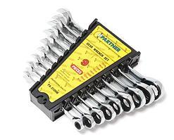 Partner Набор ключей комбинированных трещоточных 9 предметов(8,10,12,13,14,16,17,18,19мм) в пластиковом