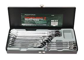 ROCKFORCE Набор ключей комбинированных трещоточных с шарниром 13 предметов(8,10-19,21,22мм), в металлическом