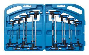 ROCKFORCE Набор ключей Т-образных TORX/6-гранныхс шаром,16 предметов(Н:2,2.5х75,  3,4х100, 5,6х150,