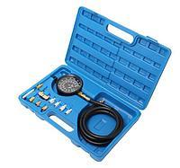ROCKFORCE Тестер давления масла в наборе с резьбовыми адаптерами 12 предметов, (0-28bar), в кейсе ROCKFORCE