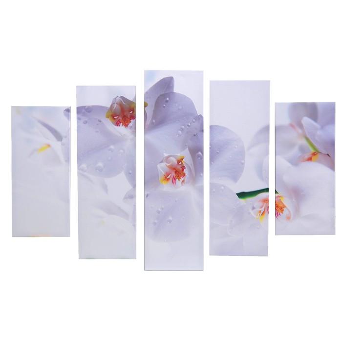 "Картина модульная на подрамнике ""Белые орхидеи"" 115х80 см (80х23; 2-70х23; 2-53х23)"
