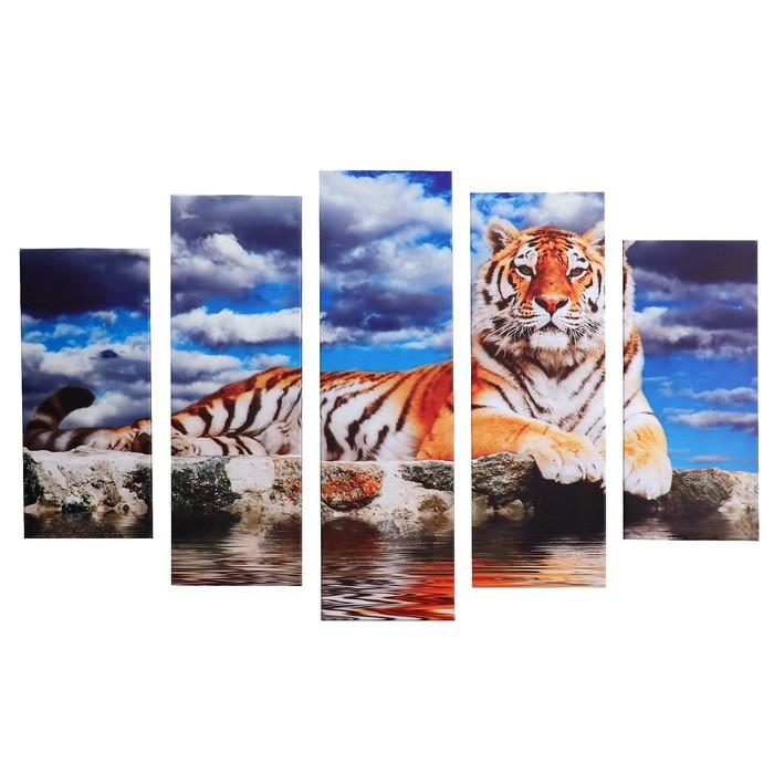 "Картина модульная на подрамнике ""Тигр"" 115х80 см (80х23; 2-70х23; 2-53х23)"
