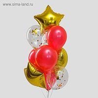 Букет из шаров «Золотая любовь», сердце, звезда, фольга, латекс, набор 10 шт.