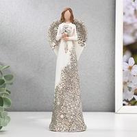 Сувенир полистоун 'Ангел с цветами, платье с серебристыми узорами' 19,5х7х4,5 см