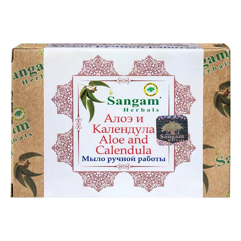 Мыло с глицерином «Алоэ и календула» Sangam herbals 100,0 уход за всех типов кожи