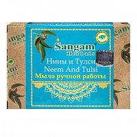 Мыло Sangam Ниим и Тулси ручной работы 100,0  типам кожи, включая чувствительную, фото 1