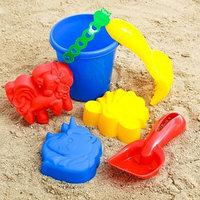 Набор для игры в песке 44 ведёрко, 3 формочки, грабельки, лопатка, МИКС