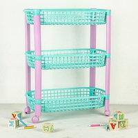 Этажерка для игрушек на колёсах 3 секции IDEA 'Конфетти', цвет бирюзовый