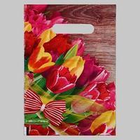 Пакет 'Тюльпаны с бантом', полиэтиленовый с вырубной ручкой, 20х30 см, 30 мкм (комплект из 100 шт.)