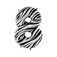 Шар фольгированный 40' 'Цифра 8', Zebra