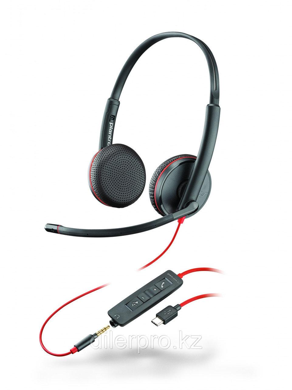 Plantronics BlackWire C3225-C - проводная гарнитура (стерео, jack 3.5/USB-C)