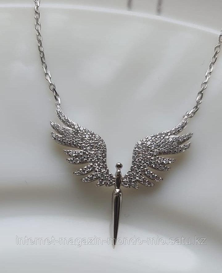 """Подвеска """"Крылья Ангела"""" с циркониями. Серебро 925 пробы."""
