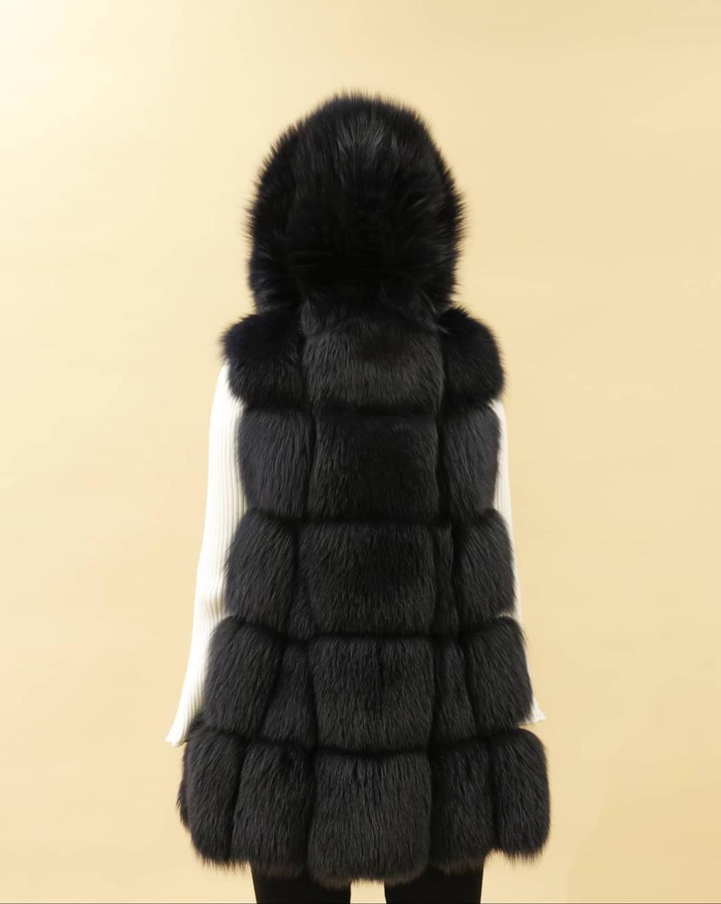Женская шуба-жилет с капюшоном (песец) - фото 4