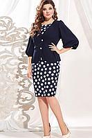 Женский осенний синий нарядный большого размера комплект с платьем Vittoria Queen 13403 48р.