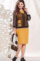 Женский осенний нарядный большого размера комплект с платьем Vittoria Queen 13443 50р.