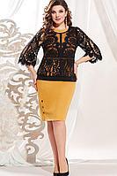 Женский осенний кружевной нарядный большого размера комплект с платьем Vittoria Queen 13463 50р.
