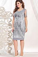 Женское осеннее кружевное серое нарядное большого размера платье Vittoria Queen 13493 48р.