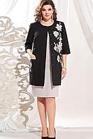 Женский осенний льняной большого размера комплект с платьем Vittoria Queen 13563 50р.